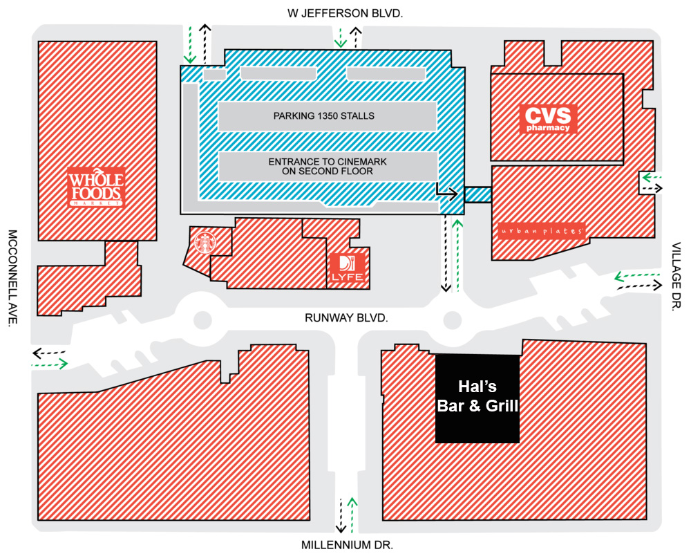 Parking Map for Hal's Bar & Grill at Playa Vista, CA
